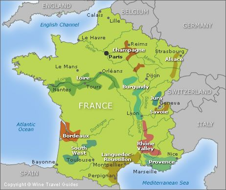 Map of the wine regions of france maps pinterest for Champagne region in france