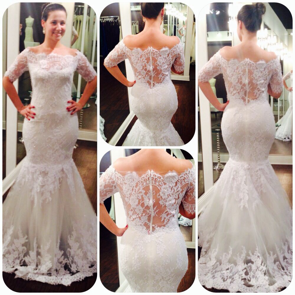 Lace, fit and flare Marchesa wedding dress. This is now