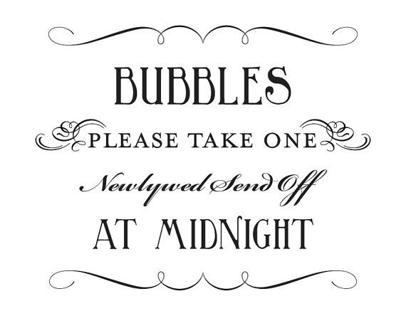 Bubble Send Off Sign Printable DIY Digital by