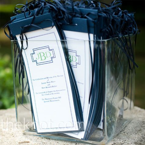The Ceremony Programs Were Vertical Booklets With Navy Blue Backing