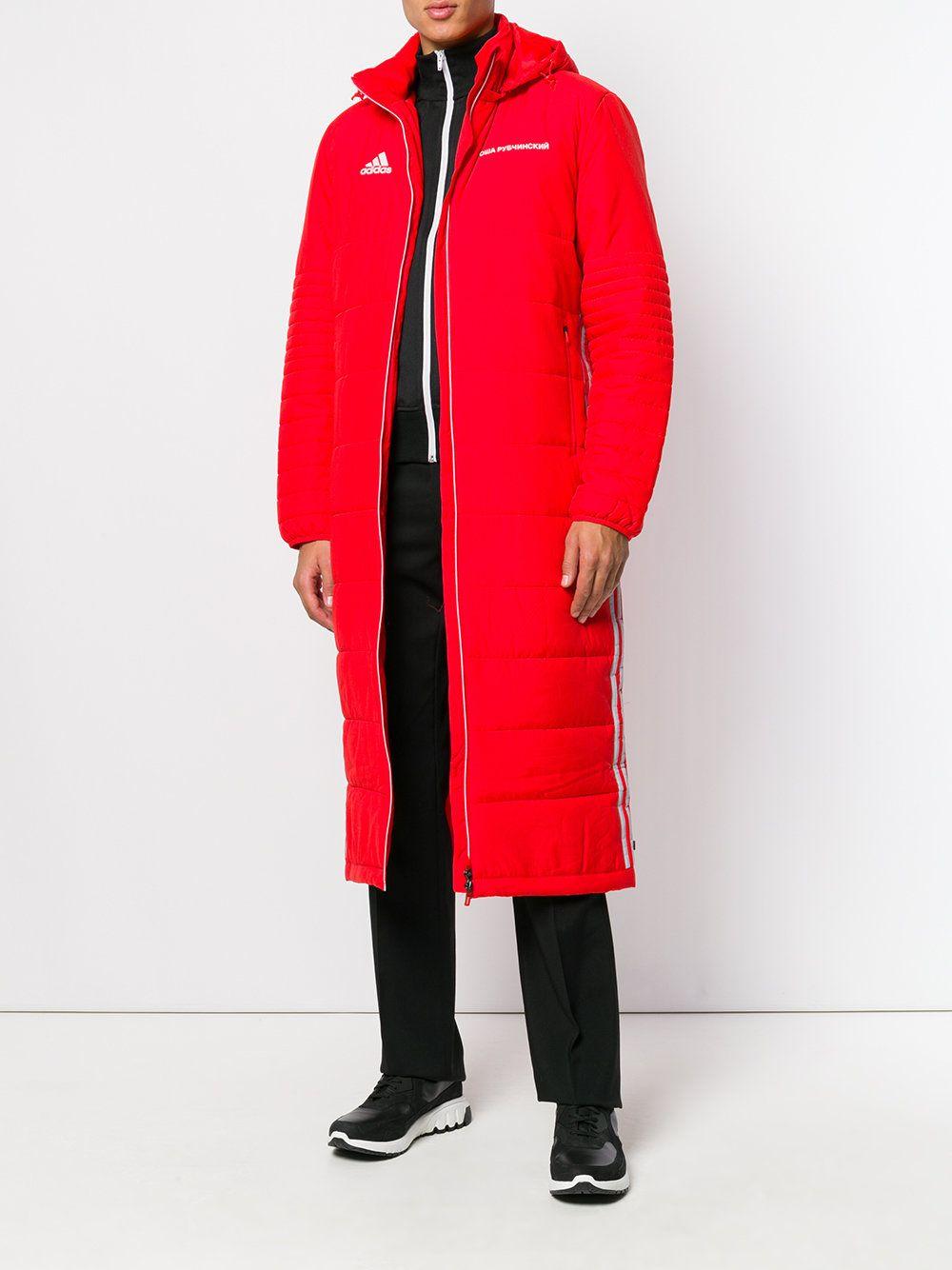 Gosha Rubchinskiy Long Padded Coat In 2020 Padded Coat Red Leather Jacket Coat