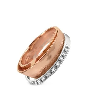 Tama - Diamond Channel 18K Rose Gold Band Ring