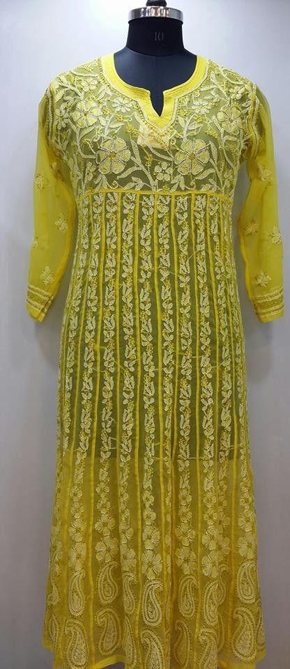 Lucknow Chikan Online Anarkali Kurti Yellow Faux Georgette ...