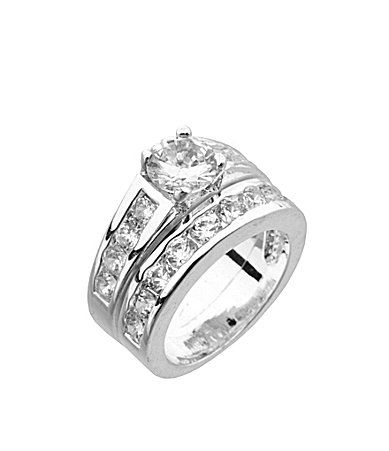 Dillards Boxed Collection Cz Engagement Ring And Wedding Band Set