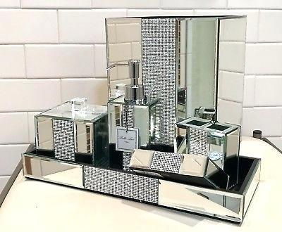 Crystal Bathroom Accessories Lux Mirror, Diamond Bathroom Set