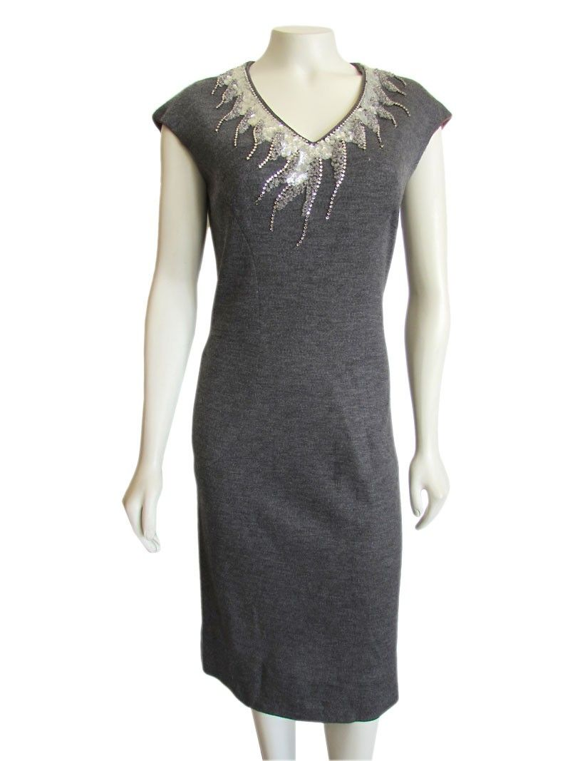 Vintage us gray cocktail dress with embellished vneck gray