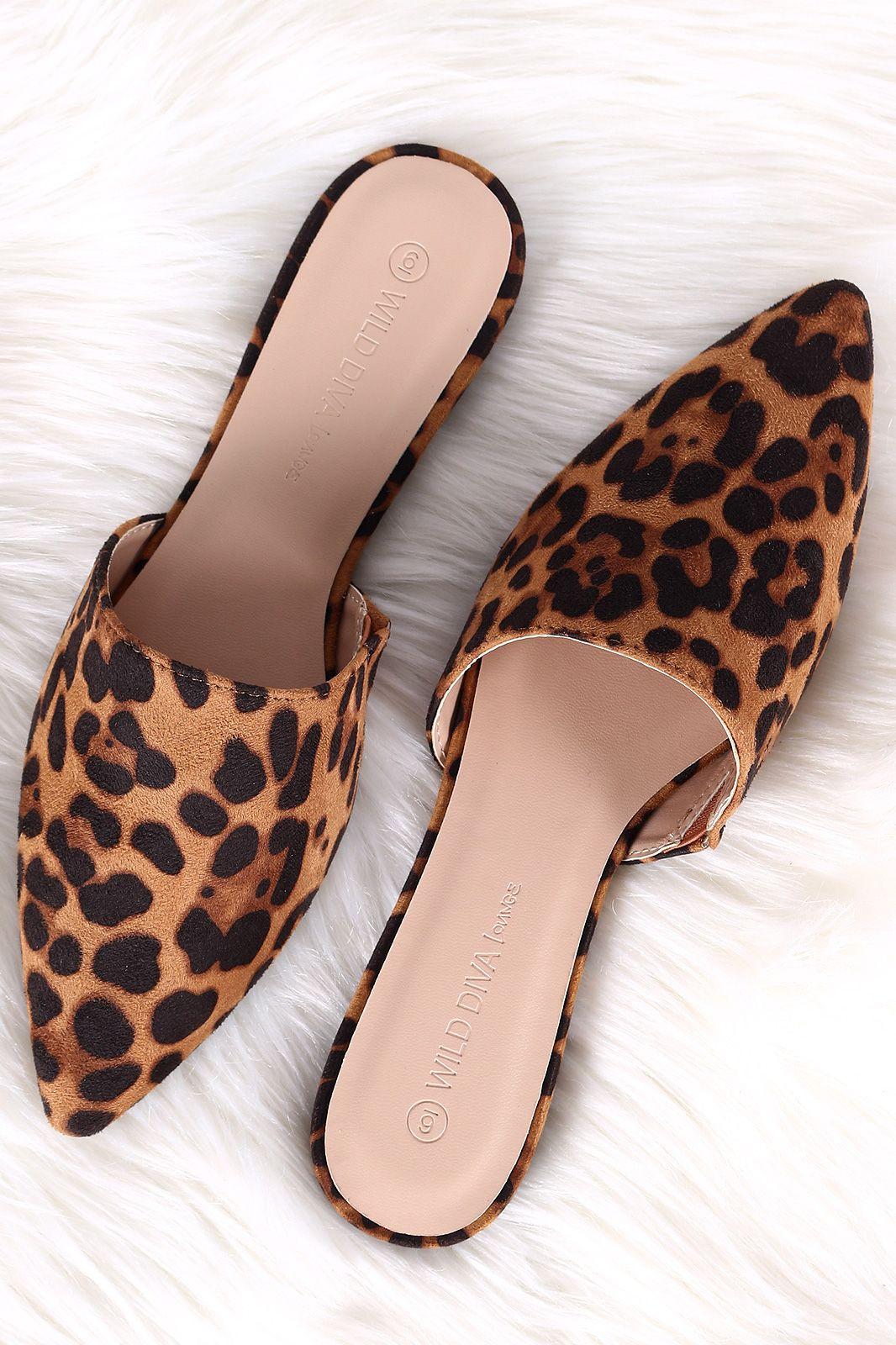 2ba95d50005e Wild Diva Lounge Leopard Suede Pointy Toe Mule Flat | UrbanOG | On ...