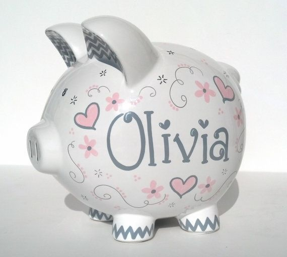 Baby Pink And Gray Elegant Hearts Personalized Piggy
