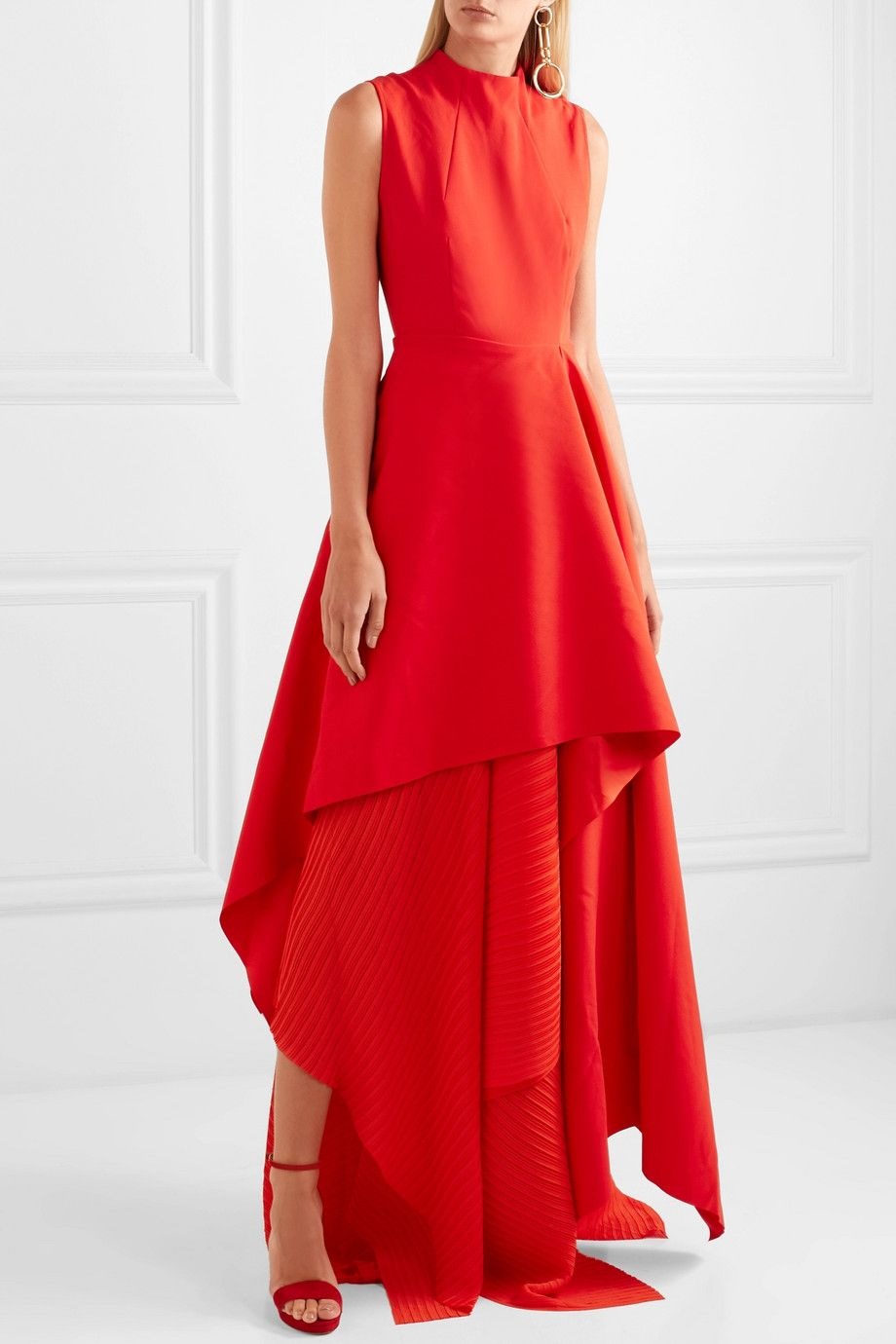 Solace london the serafine asymmetric pleated cotton and chiffon
