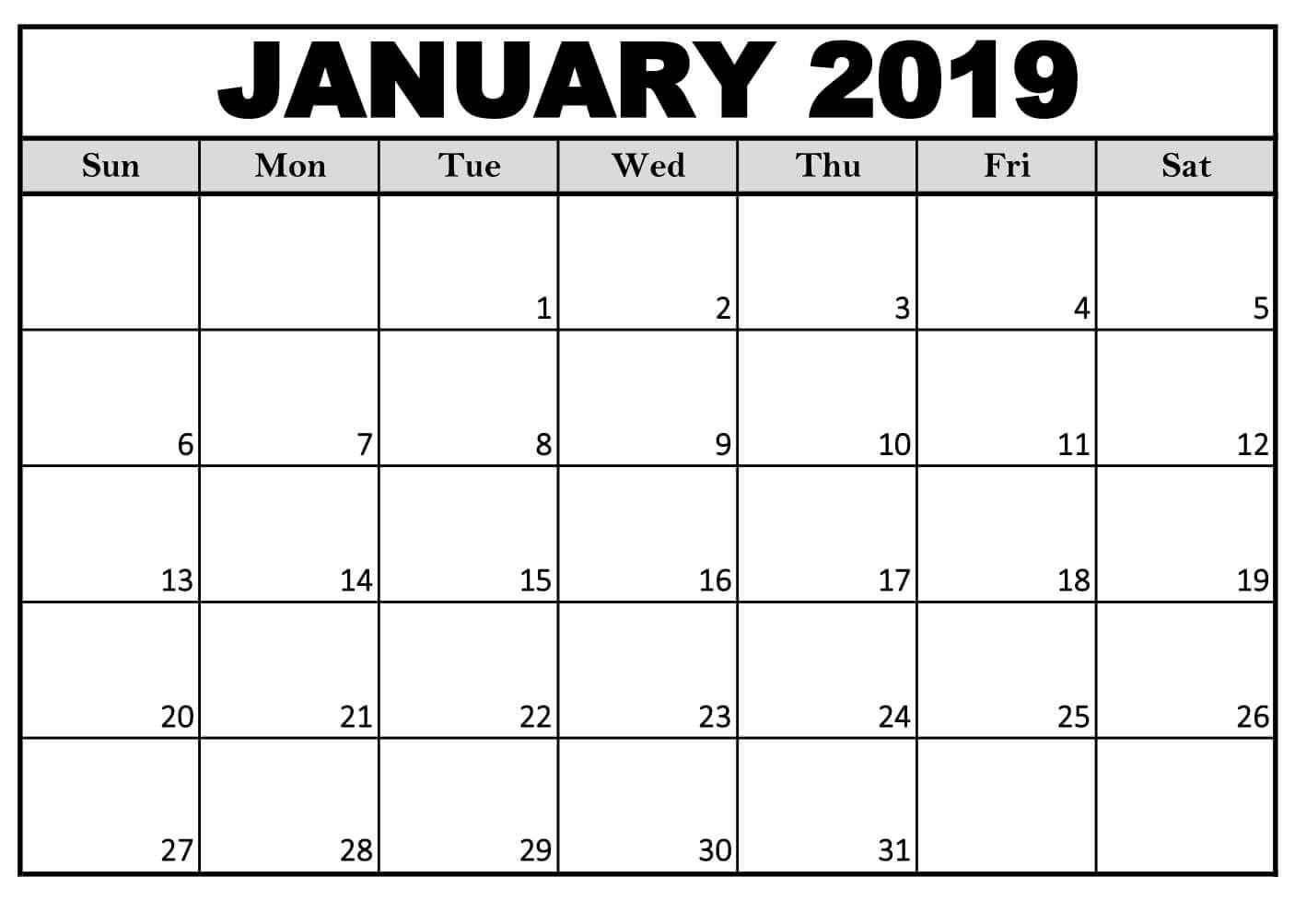 January Calendar Free Printable For Office