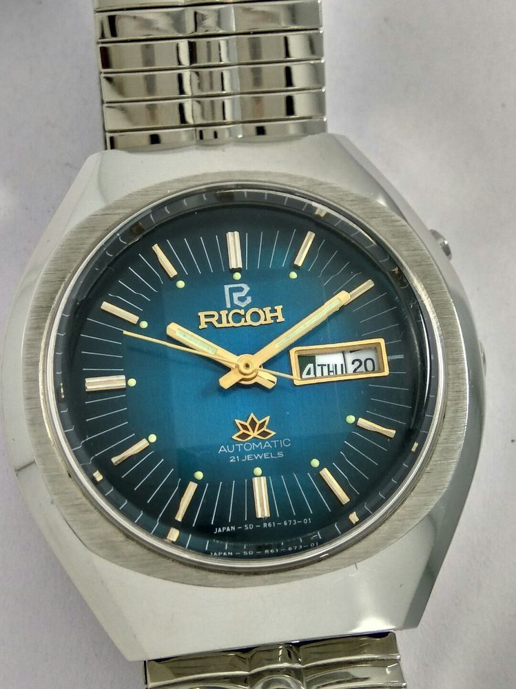 70bab91cbad1c NOS Ricoh Blue dial vintage automatic watch new old stock