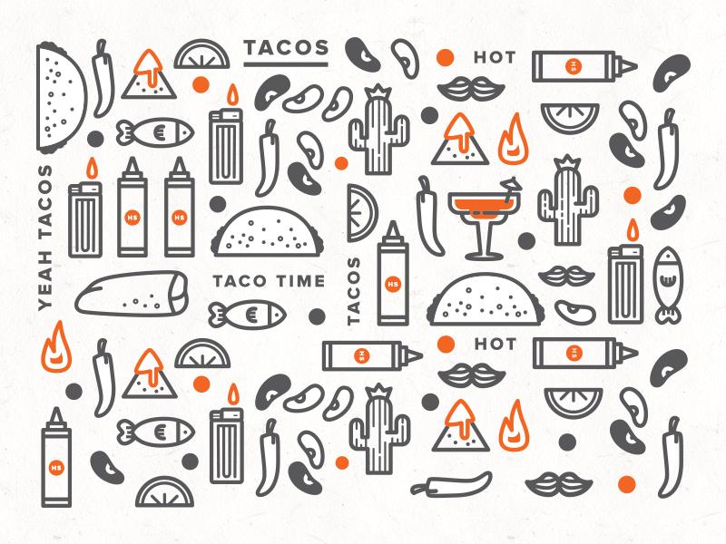 Taco Time Food Icons Icon Design Restaurant Branding