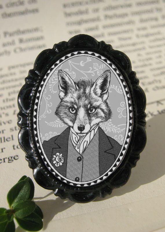 cammeo spilla ritratto di volpe bianco e nero di di murmurfremo