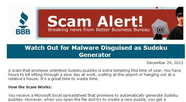 Sudoku fans, BEWARE! Be on the lookout for malware disguised as a
