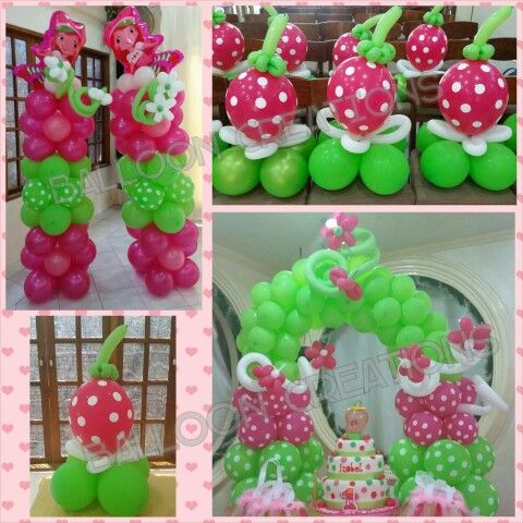 Strawberry Party Supplies Strawberry Happy Birthday Banner and Balloons for Baby Girl Birthday Party Decoration