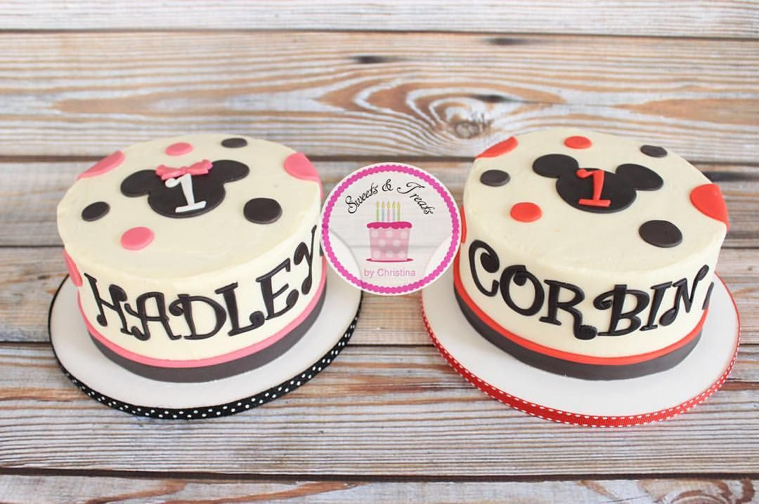 Mickey And Minnie Smash Cakes For A Boygirl Twins First Birthday