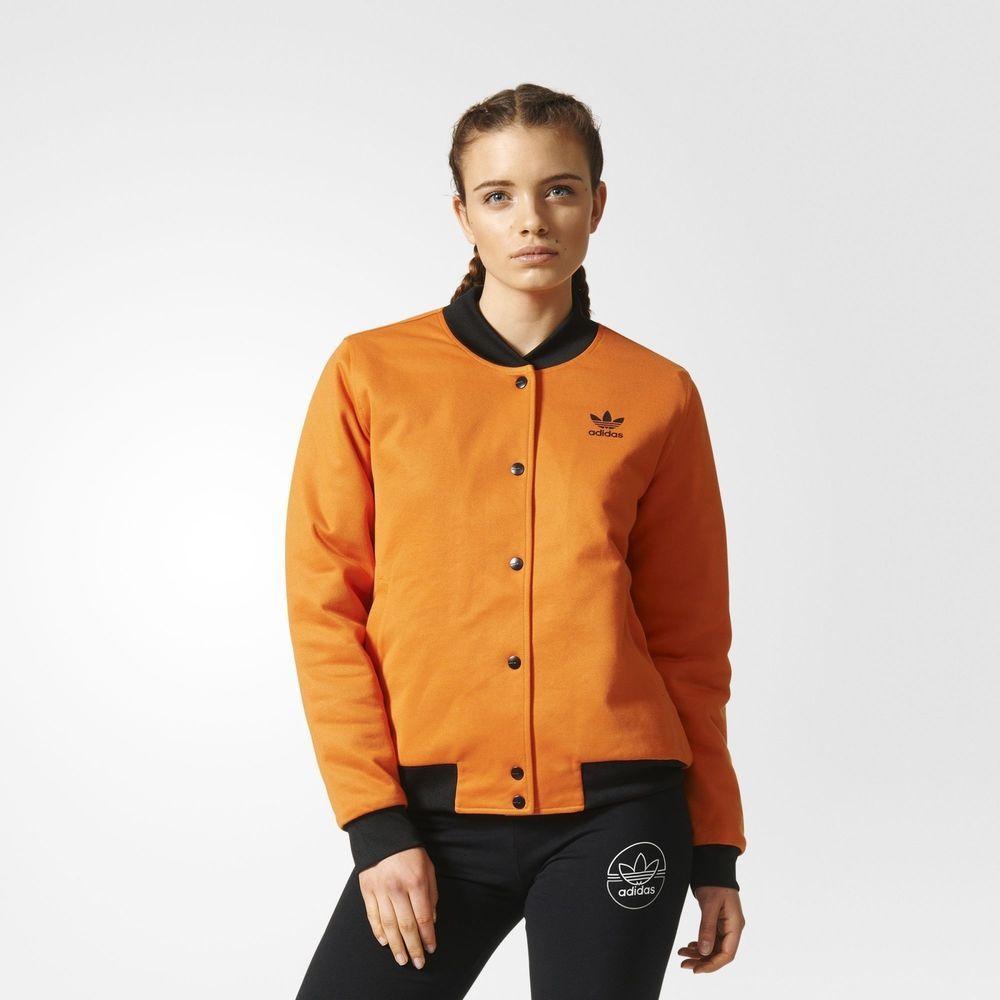 ff96226a401 adidas Originals Womens Brooklyn Heights Bomber Jacket Trefoil Orange