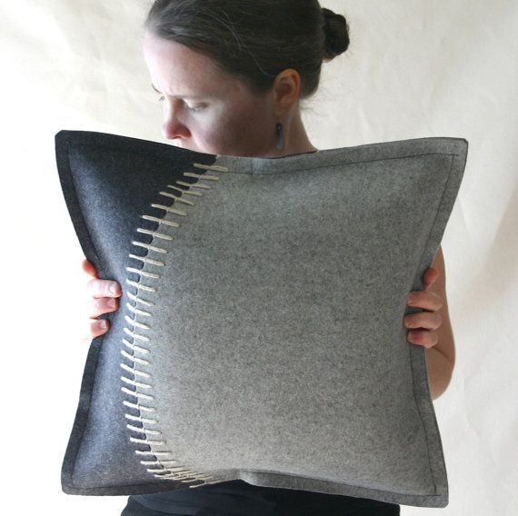 Decorative Felt Pillow in Two Grays Merino Wool with Cream Top Stitching from Fuzzy Logic Felt