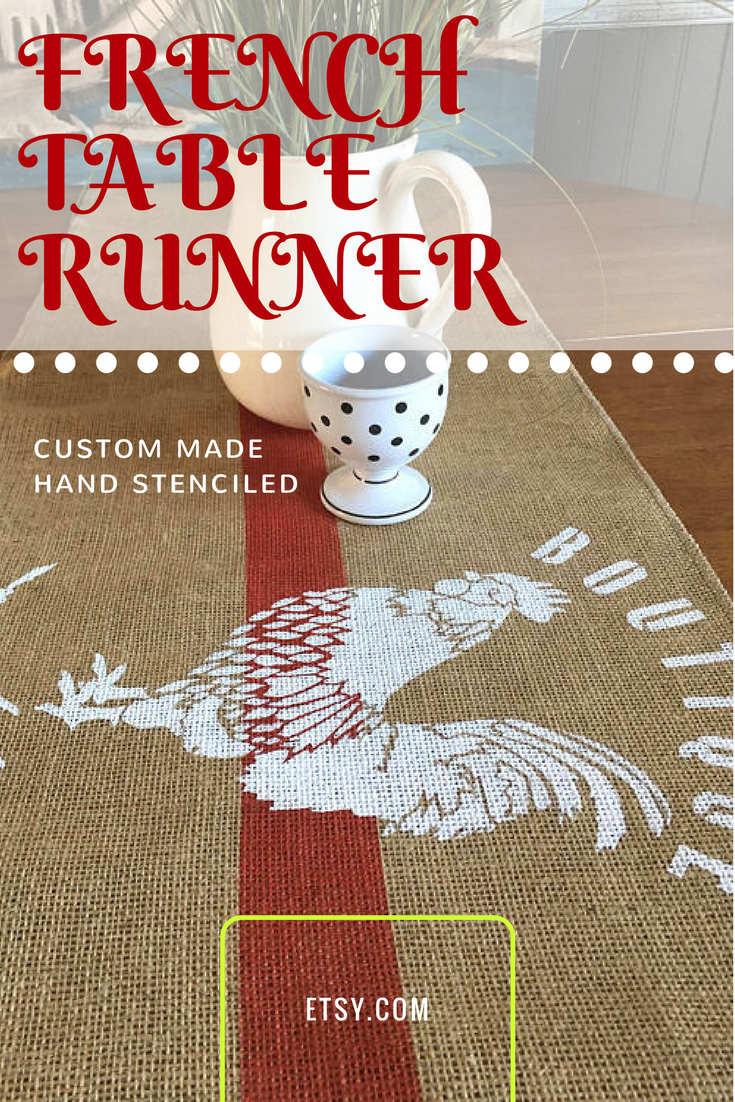 Farmhouse Table Runner With Hand Stenciled Rooster And