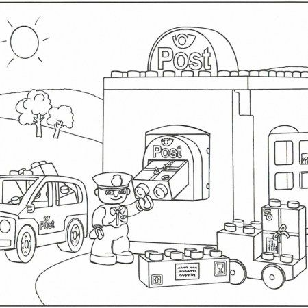 Lego Duplo Post And Police Coloring Pages Coloring Pages Lego Duplo Lego Coloring