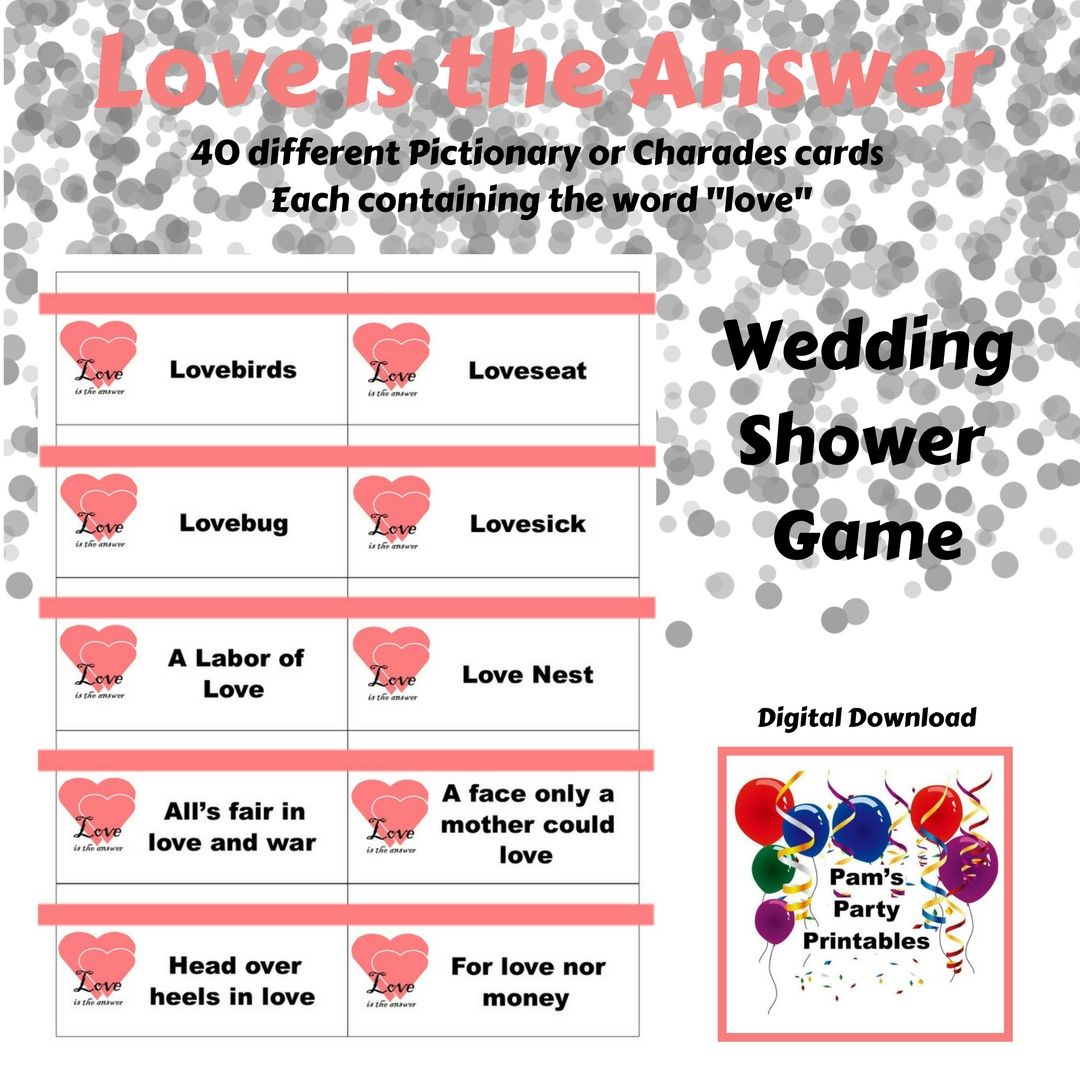 Wedding Charades Ideas: Printable Wedding Shower Valentine's Day Love Is The