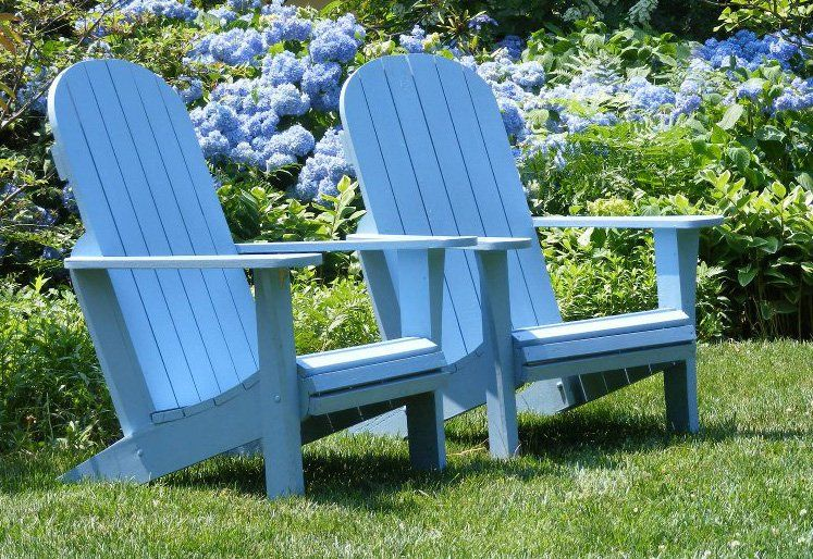 Hydrangeas Adirondack Chairs Photograph Blue Garden Green