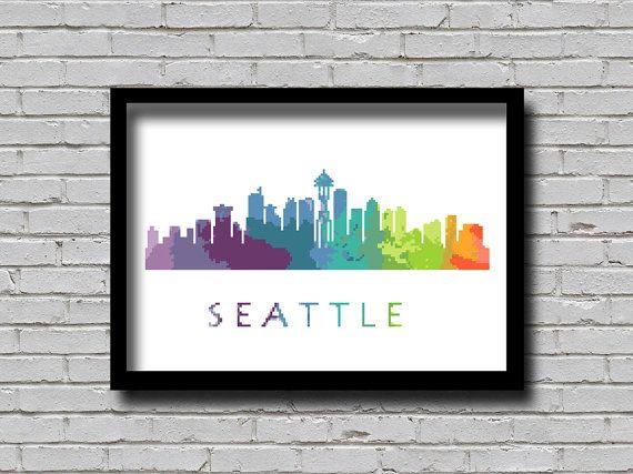 BOGO Cross Stitch Pattern Seattle by ZGCROSSSTITCHPATTERN on Etsy