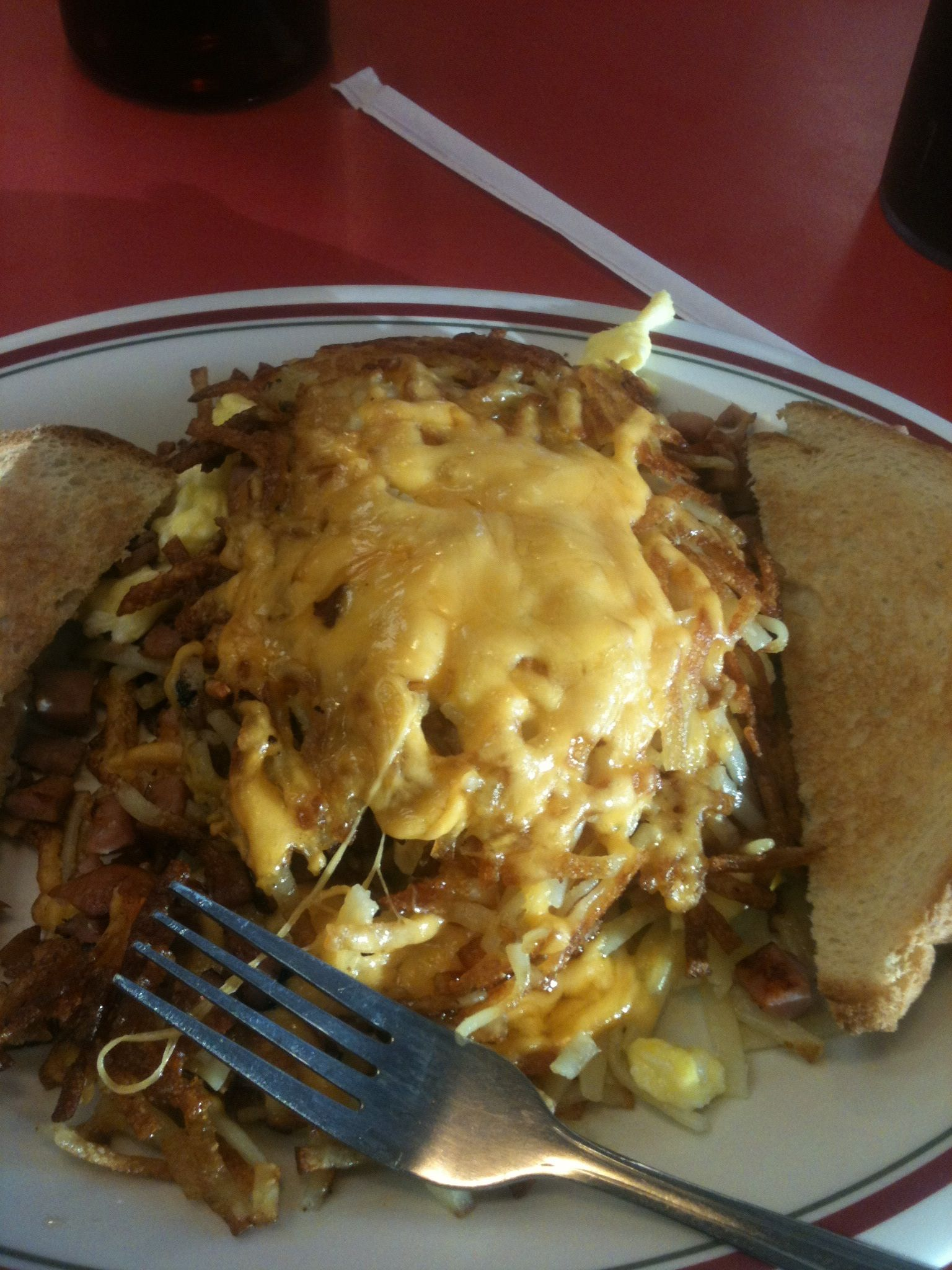 Stuffed hash browns at Huddle House Food Drink