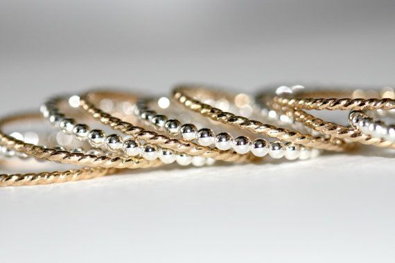 14k gf stack rings Yellow gold ring Rope stackable by Eklektisch, $22.00 knuckle ring