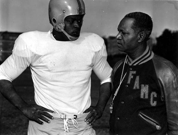 Famu Coach Jake Gaither With A Football Player During Practice