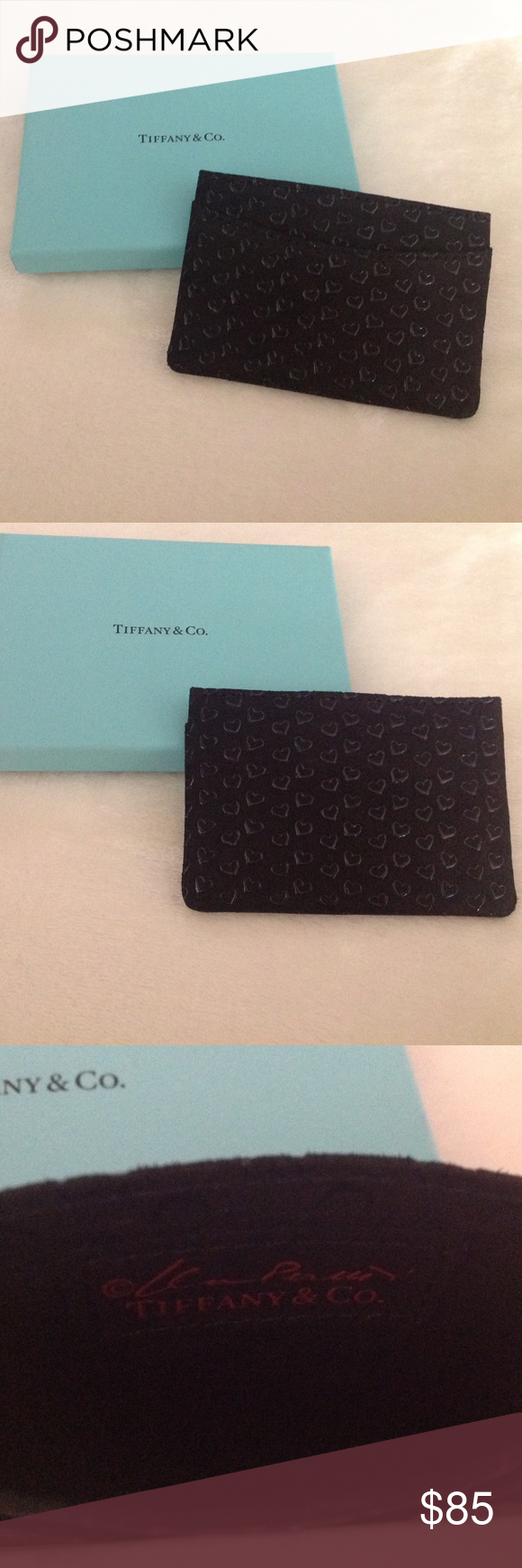 Elsa Peretti card case in black leather with lacquered Open Hearts Tiffany & Co. Mhmxw71