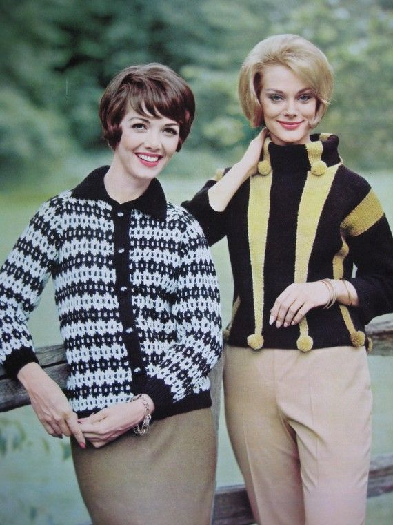 rib-knit sweaters were popular for women in the 1960s. These were ...