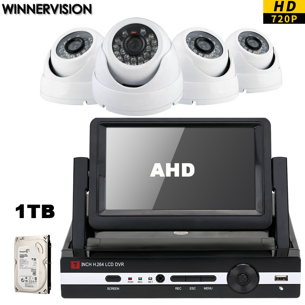 290.05$  Watch here - http://alikf5.worldwells.pw/go.php?t=32757789143 - Built 1TB HDD 4pcs HD 720P AHD CCTV Cameras 4CH 7 inch LCD Combo Screen DVR Video Surveillance System Kits Mobile Phone CCTV 4CH