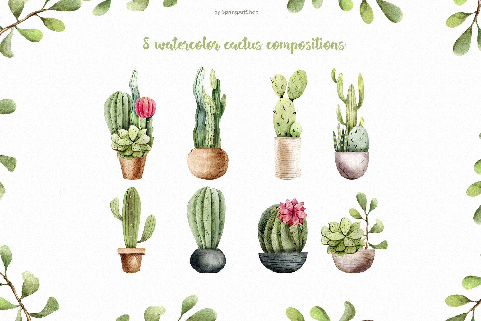 Watercolor Cacti Clipart Tropical Watercolor Plant Summer Png
