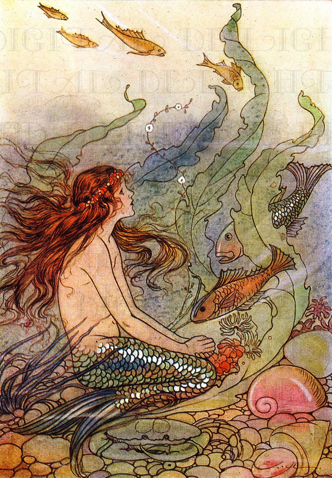 Beautiful flowing little mermaid among colorful fishes