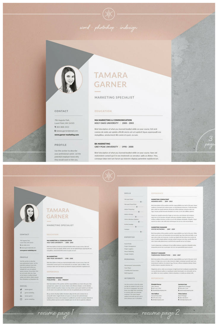 professional resume  cv and cover letter templates  our design   u2018tamara u2019  contains a professional