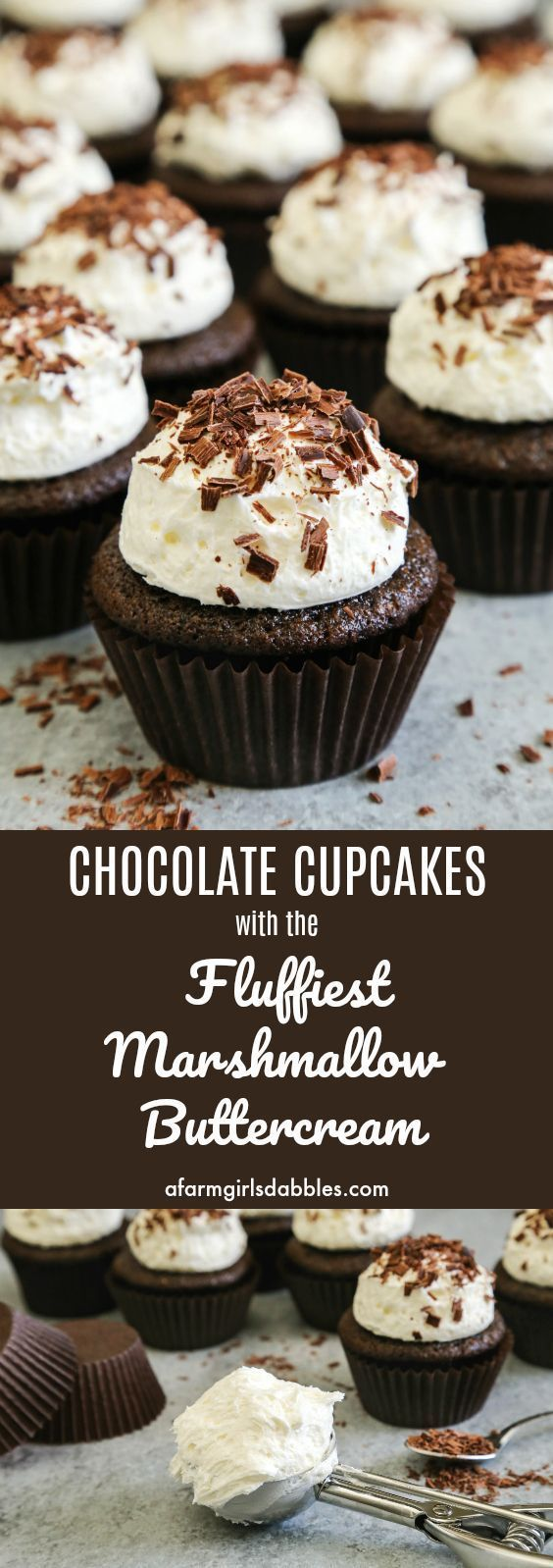 Chocolate Cupcakes with Fluffy Marshmallow Buttercream • a farmgirl's dabbles