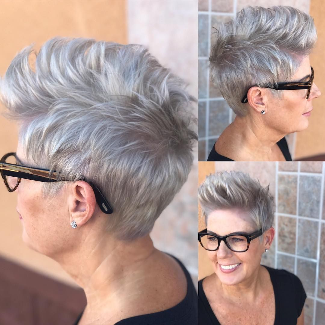 Messy Silver Brushed-Up Textured Pixie Crop - The