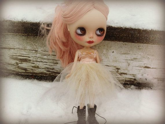 RESERVED - OOAK Blythe Ballet Dress - Tutu - Peach and Ecru