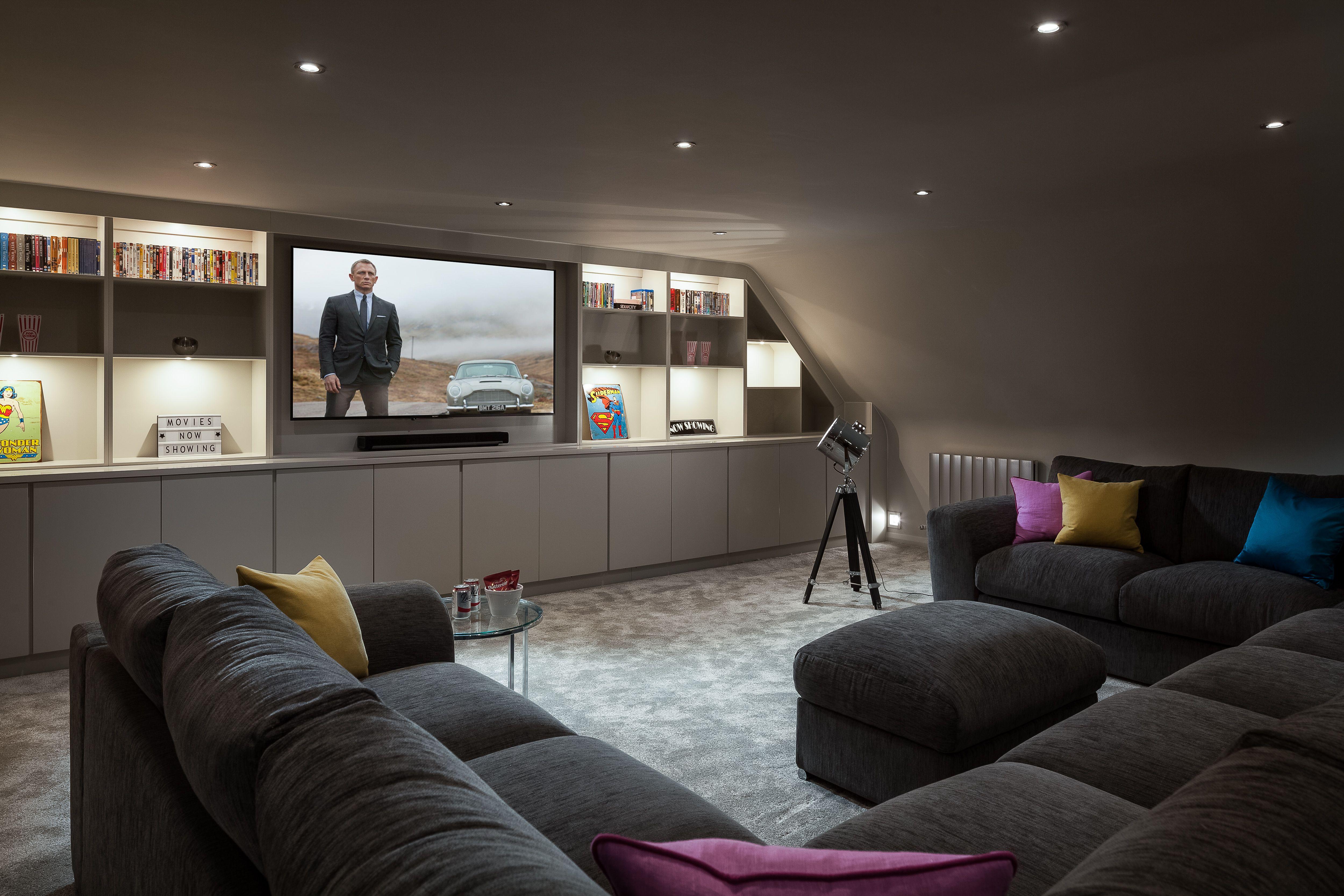 Home Cinema Room With U Shaped Sofa Created In Loft Room With Eaves Home Cinema Room Loft Room Cinema Room
