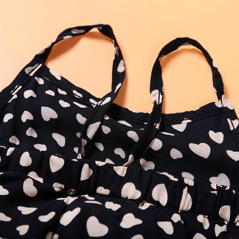 Kids Girls Clothing Sets Sleeveless Polka Dot Strap Girls Jumpsuit Clothes Sets