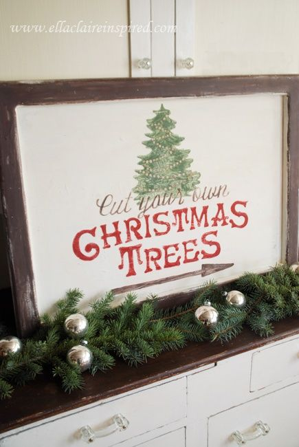 Vintage Christmas Free Christmas Tree Sign Template Tutorial Seen On Http Www Ellaclaireinspired Christmas Signs Christmas Crafts Christmas Tree Farm