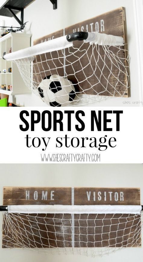 Sports net: toy storage for boys room, playroom or any room. Great DIY instructions to make this yourself! images
