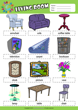 Living room picture dictionary esl vocabulary worksheet for Living room vocabulary