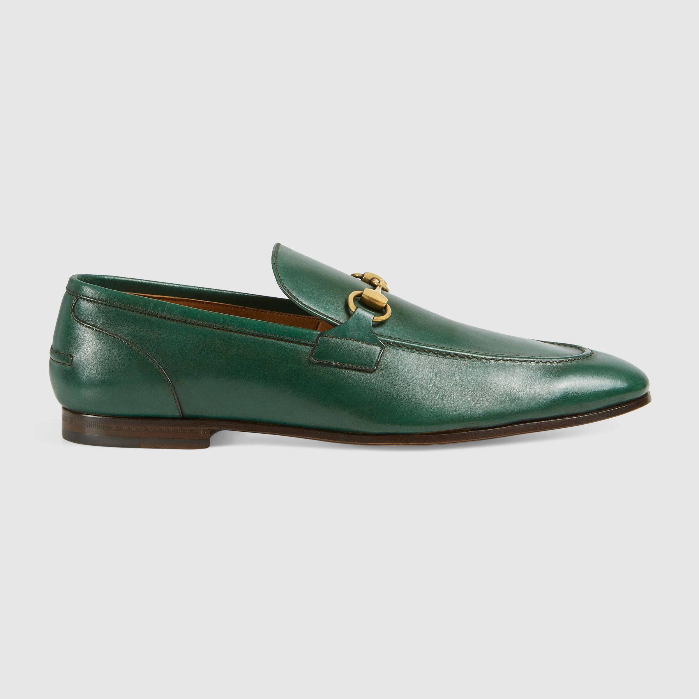 Mocassins En Cuir Jordaan Vert Gucci 9s21iv