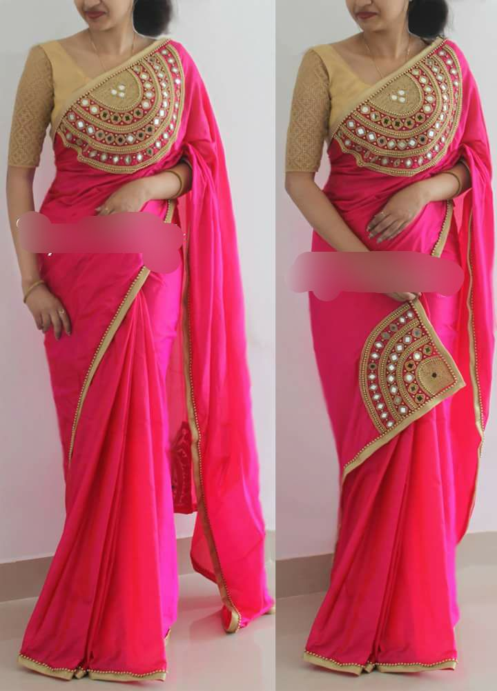 955aaf0ad4fc42 Designer Real mirror and beads handwork saree