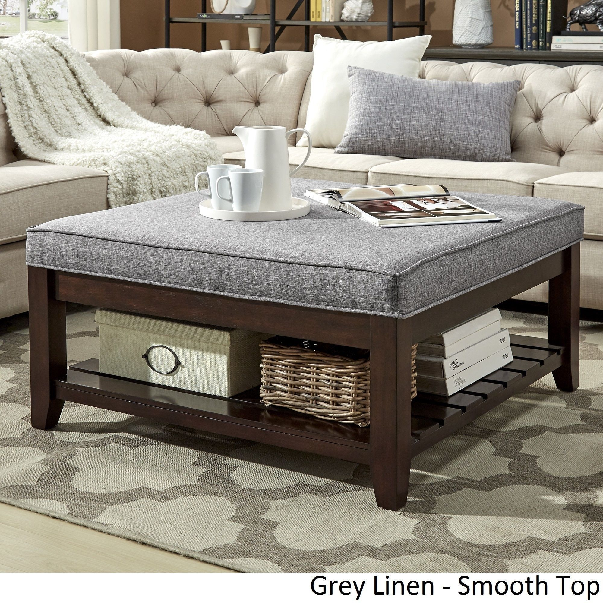 Ottoman Coffee Table With Sliding Wood Top: Lennon Espresso Planked Storage Ottoman Coffee Table By