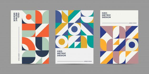 Retro geometric cover design Premium Vec  Premium Vector