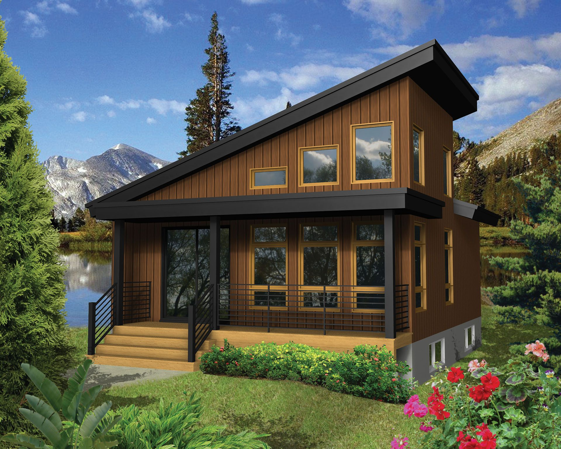 Plan 80813pm Modern Escape With Dramatic Roofline Vacation House Plans Contemporary House Plans Cabin Design