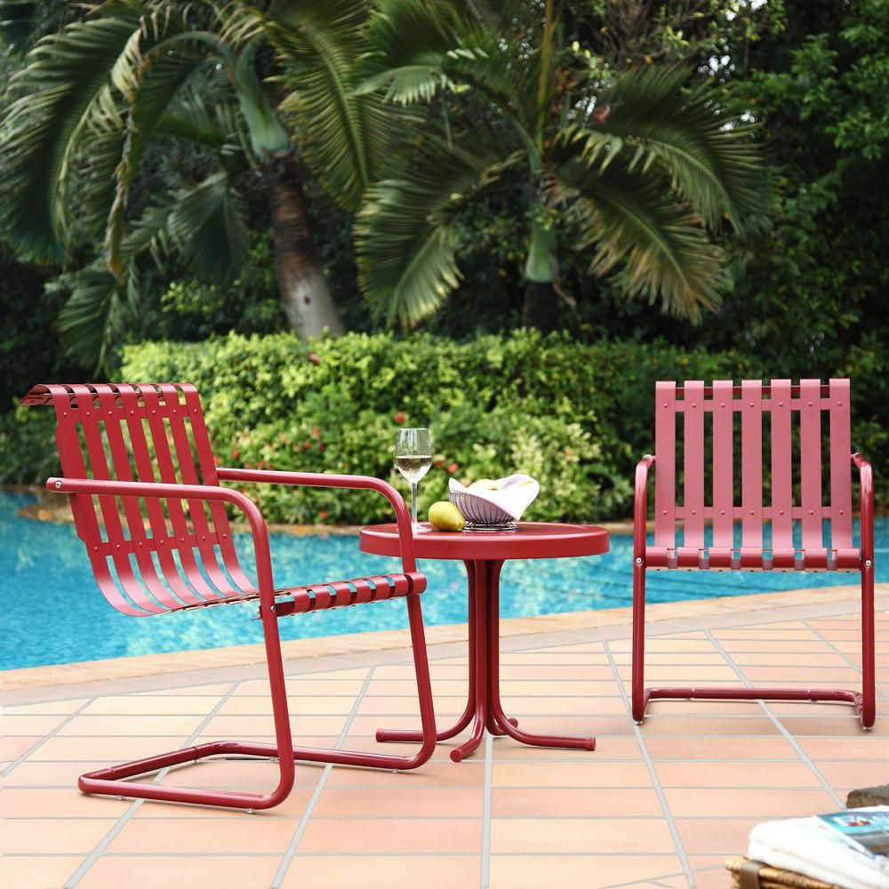 Crosley Gracie 3 Piece Metal Outdoor Conversation Seating Set 2 Chairs And Side Table In Coral Red Ko10007re The Home Depot In 2020 Outdoor Seating Set Outdoor Furniture Sets Outdoor Bistro Set